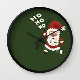 "Christmas ""HOHOHO"" Slogan Santa Claus - Green Wall Clock"