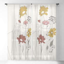 Colorful Thoughts Minimal Line Art Woman with Flowers III Sheer Curtain