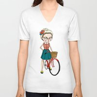 hipster V-neck T-shirts featuring Hipster by Maripili