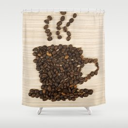 Coffee bean cup on table Shower Curtain