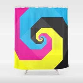 CMYK triangle spiral Shower Curtain