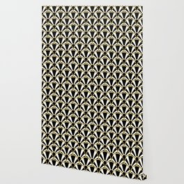 Black, White and Gold Classic Art Deco Fan Pattern Wallpaper
