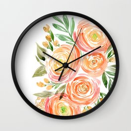 Watercolor ranunculus in rose gold Wall Clock