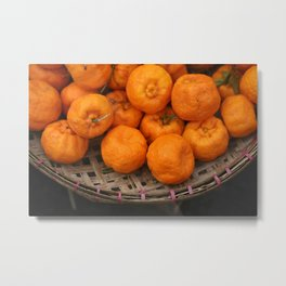 Mandarin orange fruits in basket Metal Print