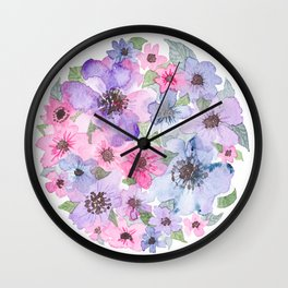 Purple, Pink, Blue Flowers in a Circle Wall Clock