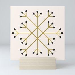 Mod Snowflake Olive Mini Art Print