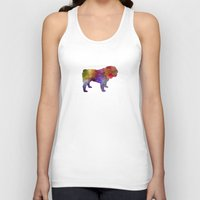 english bulldog Tank Tops featuring English Bulldog in watercolor by Paulrommer