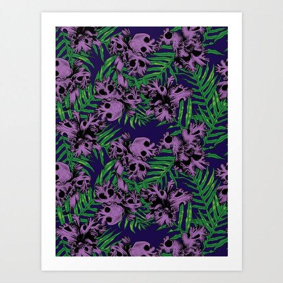 Orchid Skulls Art Print
