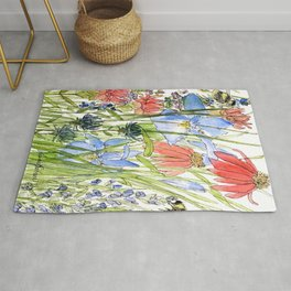 Botanical Garden Wildflowers and Bees Rug
