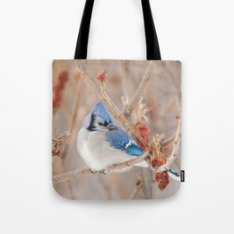 Blue Jay and Sumac Tote Bag