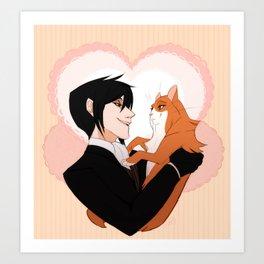 Sebastian and cat lady Art Print