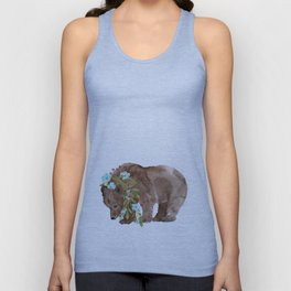 Bear with flower boa Unisex Tank Top