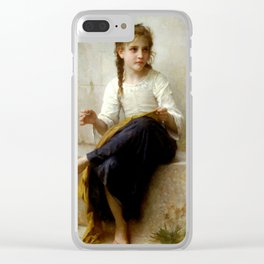"""William-Adolphe Bouguereau """"Sewing"""" Clear iPhone Case"""