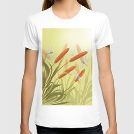 the reeds and dragonflies on the rising sun background T-shirt