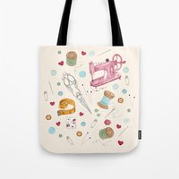 sewing Tote Bags featuring Sewing by Epoque Graphics