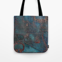 Antique Map Teal Blue and Copper Tote Bag