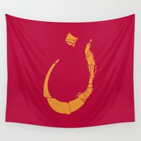 arabic Wall Tapestries featuring Arabic letter-N by elyinspira