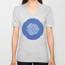 Blue Abstract Rose Pattern Unisex V-Neck