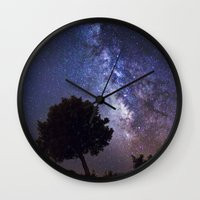 milky way Wall Clocks featuring Milky Way by FRPhotography
