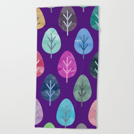 Watercolor Forest Pattern II Beach Towel