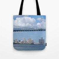 detroit Tote Bags featuring Nearing Detroit by Ann Horn
