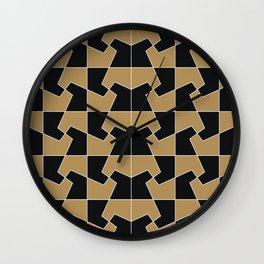 Abstract hexagon periodic tessellation pattern gamboge black Wall Clock