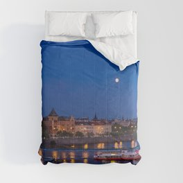 Prague, river Vltava at blue night Comforters