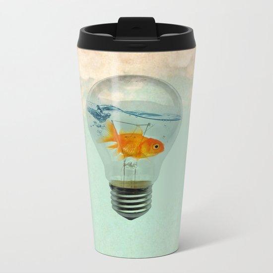 goldfish thinking Metal Travel Mug