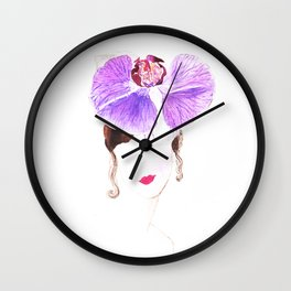 Girl watercolor painting print, Fashion illustration, Girl art, watercolor, Flower art, Orchid Wall Clock
