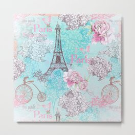 I love Paris-blue vintage illustration Metal Print