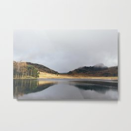 Low cloud and reflections on Blea Tarn. Cumbria, UK. Metal Print