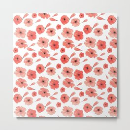 Red Poppies pattern Metal Print