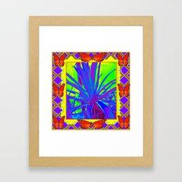 TROPICAL ORANGE BUTTERFLIES PURPLE AGAVE CACTUS Framed Art Print