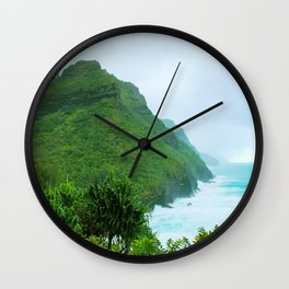 green mountain with blue ocean view at Kauai, Hawaii, USA Wall Clock