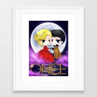 captain swan Framed Art Prints featuring OUAT - Chibi Captain Swan Dance by Yorlenisama