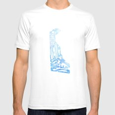 Typographic Delaware - blue watercolor White Mens Fitted Tee MEDIUM