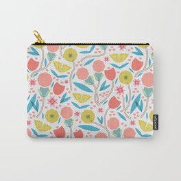 Geometric Floral Pattern Carry-All Pouch