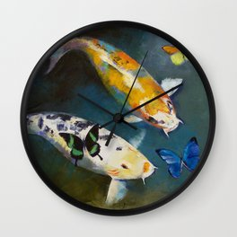 Koi Fish and Butterflies Wall Clock