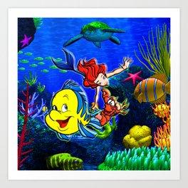Mermaid love Art Print