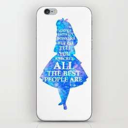 Alice In Wonderland Have I Gone Bonkers Quote - blue pink iPhone Skin
