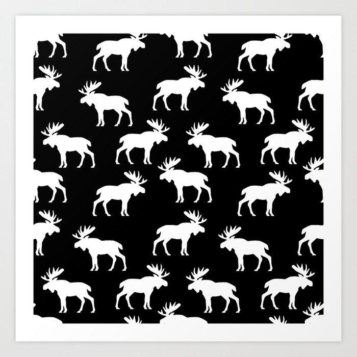 Moose Trot // Black Art Print