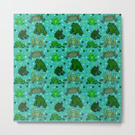Cartoon Frogs Metal Print