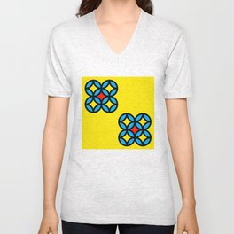 Colored Circles on Yellow Board Unisex V-Neck