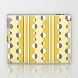 Circles and Stripes in Mustard Yellow and Gray Laptop & iPad Skin