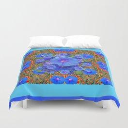 Baby Blue Modern Art  Blue Morning Glories Floral Art Duvet Cover