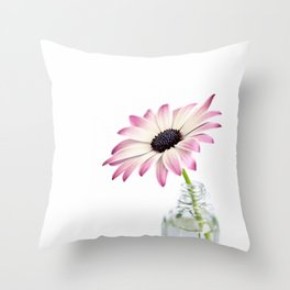 Delicate Single Pink Daisy Flower Throw Pillow