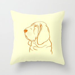 Bloodhound (Pale Yellow and Orange) Throw Pillow