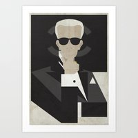 karl lagerfeld Art Prints featuring Karl by B_U_R_T