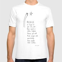 reach as high as you can White LARGE Mens Fitted Tee