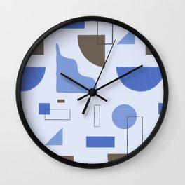 Blue Lavender Minimal Retro Forms Wall Clock